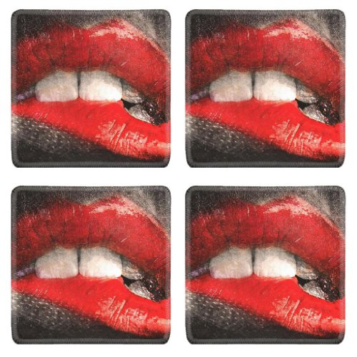Red Lipstick Bitten Lip Kissing Square Coaster (4 Piece) Set Fabric Rubber 5 1/8 Inch (130mm) Size Coaster Cup Mug Can Water Bottle Drink Coasters Stain Resistance Collector Kit Kitchen Table Top Desk