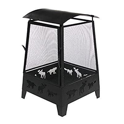 ALEKO FP009 Steel Outdoor Fireplace with Spark Screen Mesh Lining and Laser Cut Animal Design - 32 Inches - Black - Constructed from lightweight, high quality black steel Made to be weather resistant and durable for years of use Includes weather protecting cover, front door and steel poker - patio, outdoor-decor, fire-pits-outdoor-fireplaces - 51OrWDBZOYL. SS400  -
