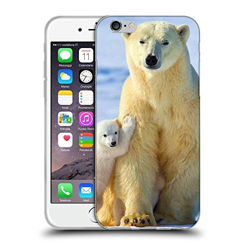"""Just Phone Cases Coque de Protection TPU Silicone Case pour // V00004081 Polar ourson avec un petit // Apple iPhone 6 4.7"""""""