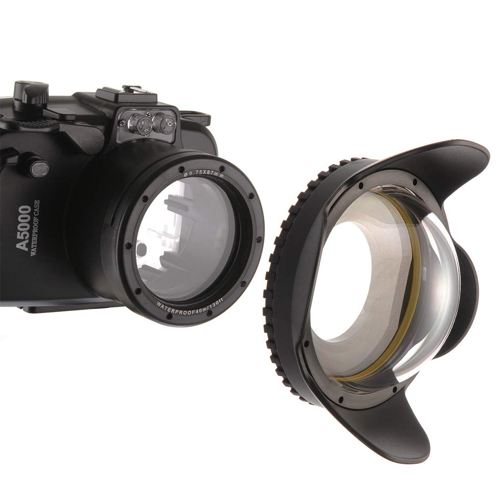 foto4easy Meikon 60M/195FT 防水 広角 ウェット補正ドームポートレンズ 水中カメラハウジング用 EOSM3 RX100IV V TG-4/5 67mmアダプターリング付き   B07PNLBTC1