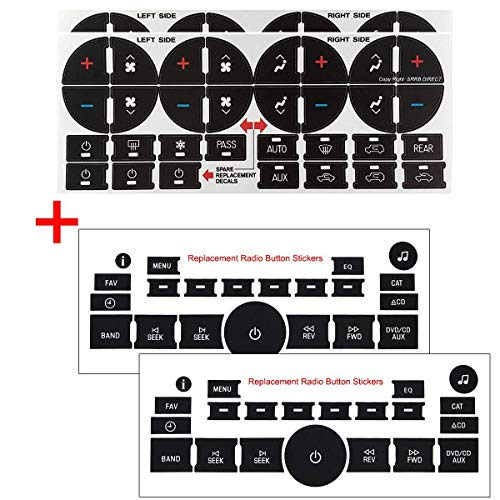 AC Dash Button Repair Kit & Radio Button Repair Decal Set, 4Pcs Button Sticker Replacement for 2007-2015 GM GMC Chevy Chevrolet Buick Saturn SUV Truck
