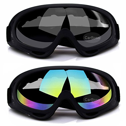 CarBoss Ski Goggles, 2-Pack Snowboard Goggles Skate Glasses, Motorcycle Cycling Goggles, CS Tactical Safety Goggles, Windproof Anti-Dust Outdoor Sports UV400 Protective Goggles (Multicolor/Gray)