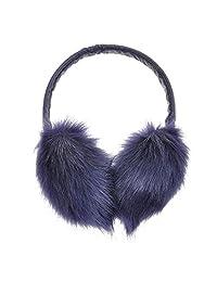 ZLYC Womens Girls Winter Fashion Adjustable Faux Fur EarMuffs Big Ear Warmers(Navy)