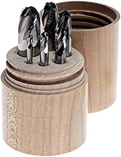product image for Kodiak Cutting Tools USA Made Four Flute Ball Nose Carbide End Mill Set in Twist-Top Wooden Tube 1/8-1/2 (6pc Pack)