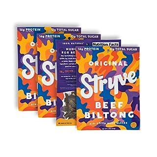 Stryve Original Biltong   Low Fat, Low Carb, Low Sugar   16g Protein   4 Pack of 2.25oz