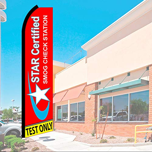 STAR CERTIFIED Smog Check Station Test Only (Red) Flutter Feather Flag, FLAG ONLY (11.5' Tall x 2.5' Wide)