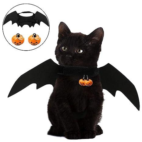 vitasemcepli disfraz para gato estilo de murciélago alas plegables, disfraces para animales Halloween con cascabeles