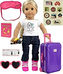 "18"" Doll carry on travel suitcase with travel gear accessories. Set includes traveling gear accessories, photo camera, sun glasses, passport, boarding pass, eye sleep mask and postage stamps."