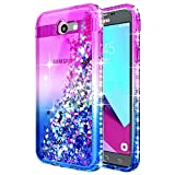 Galaxy J3 Luna Pro Case, J3 Prime/J3 Eclipse/J3 Emerge/J3 Mission w/[Tempered Glass Screen Protector], NageBee Glitter Liquid Quicksand Waterfall Girls Cute Case for Samsung J3 2017 -Purple/Blue