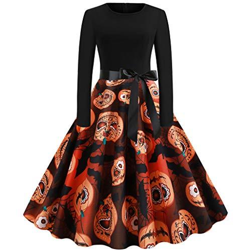 Vintage Dress Women GREFER Fashion Elegant Long Sleeve Swing Evening Party Prom Dress 50s Halloween Dresses