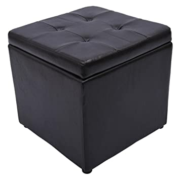 Amazoncom HomCom Square Faux Leather Storage OttomanDark