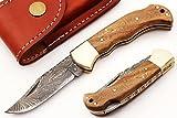 FN-S-339, Handmade Damascus Steel Folding Knife – Beautiful Rose Wood Handle with Damascus Steel Bolster