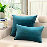 M MOCHOHOME Velvet Solid Rectangular Decorative Throw Pillow Cover Case Pillowcase Cushion Sham - 24'' x 16'', Blue