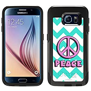 Skin Decal for Otterbox Commuter Samsung Galaxy S6 Case - Peace on Chevron Turquoise White