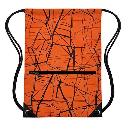 HOLYLUCK Men & Women Sport Gym Sack Drawstring Backpack Bag (White, Purple, Burgundy,Black,Navy Blue,Red,Blue) (Metallic Orange)