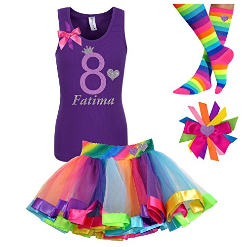 8th Birthday Shirt Rainbow Heart Tutu Outfit 4PC Gift Set Hair Clip Personalized Name 8 years old by Bubblegum Divas