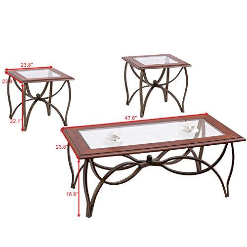 Tangkula Glass Coffee Table Set Occasional Cocktail Table Set Glass Top Coffee Table & 2 End Tables Set of 3 by Tangkula (Image #2)