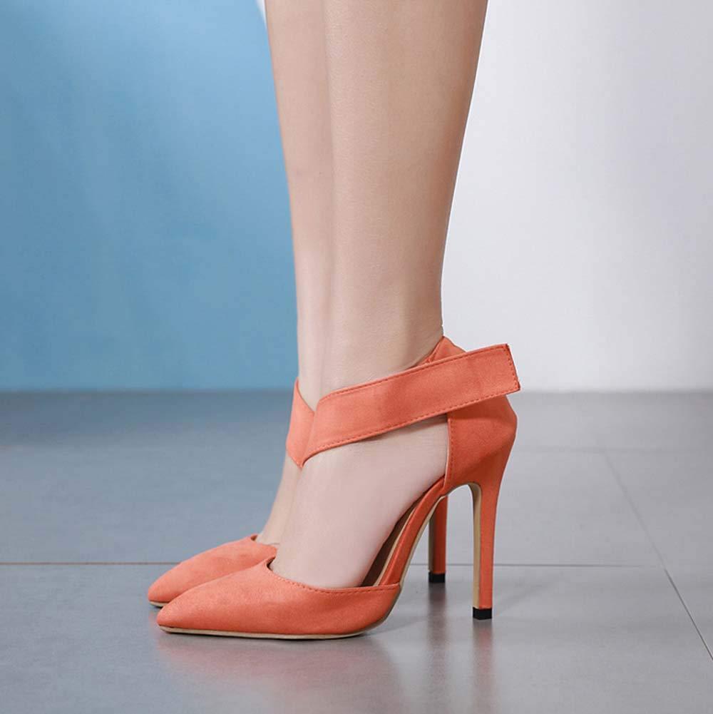 GHFJDO Women Summer Pointed Suede High Heel,Fashion Buckle Stilettos Dress//Party//Pumps,Orange,37EU