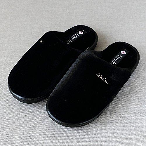 en 3839 de en chaussures plancher lame et accueil chaud 26 femmes pour hommes pieds coton d'hiver épais Noir indoor bois épais Chaussons les dqRgd