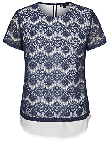 Contrast Lining (Chicwe Women's Scallop Lace Plus Size Top with Contrast Lining Navy Blue 1X)
