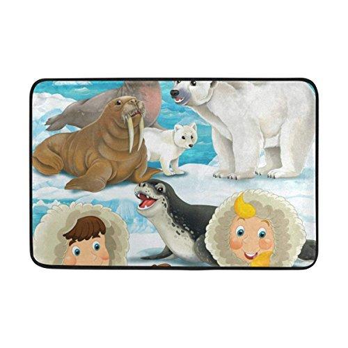(Cartoon Winter Scene Eskimos Seal Polar Bear Area Entrance Outdoor/Indoor Non Slip Decor Funny Floor Door Mat Area Rug for Entrance 23.6X15.7 inch)