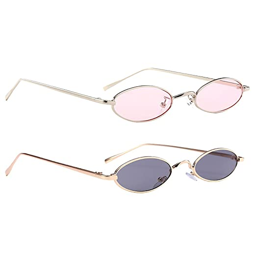 00d101c508352 Homyl Pack of 2 Small Elliptical Sunglasses Classic Retro Metal Vintage  Oval Women Fashion Shade -