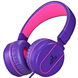 Artix Foldable On-Ear Adjustable Tangle-Free Wired Headphones, Compact Stereo Earphones with In-line Microphone and Controls for Children, Teen, Adult Head Phones for Running Sport, Travel- Purple