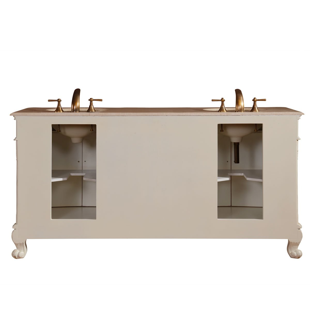 Silkroad Exclusive Countertop Marble Stone Double Sink Bathroom Vanity with Cabinet, 72-Inch by Silkroad Exclusive (Image #6)