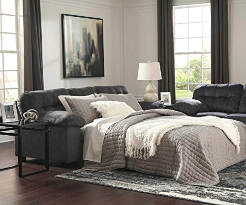- Ashley Furniture Signature Design - Accrington Contemporary Sofa Sleeper - Queen Size Mattress Included - Granite
