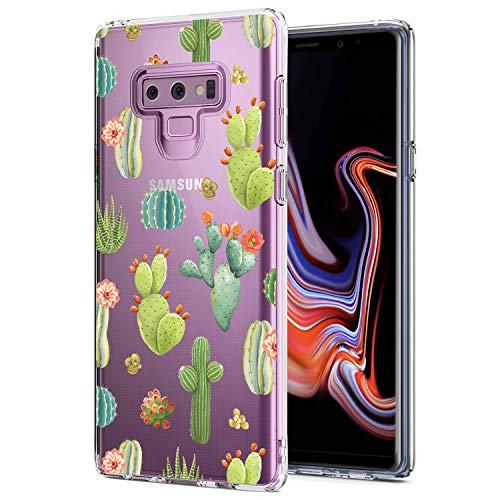 JIAXIUFEN Galaxy Note 9 Case Green Cactus Clear Slim Shockproof Girl Flower Floral Design Soft Flexible TPU Silicone Back Cover Phone Case for Samsung Galaxy Note 9