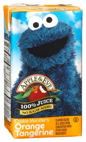 Apple & Eve Juice, Cookie Monster's Orange Tangerine, 8-Count Aseptic Boxes (Pack of 5)