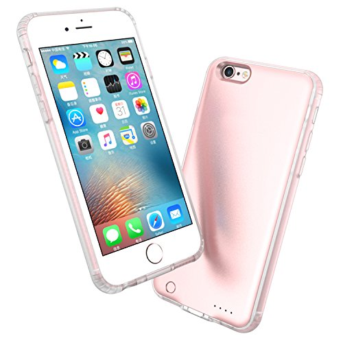 iPhone 6/6S Battery Case Portable Charger Case for iPhone 6S [Slim] External Protective Full Edge TPU Cover [2.4oz,0.43in, Extremely Slim ] 4.7 2600mAh Power Case(Rose Gold)