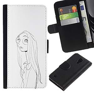 Be-Star la tarjeta de Crédito Slots PU Funda de cuero Monedero caso cubierta de piel Para Samsung Galaxy S4 IV I9500 ( Girl Portrait Glasses Pencil Drawing Face )