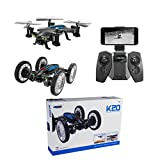 2 in 1 RC Flying Cars Quadcopter with HD Camera WiFi Mobile Remove Control 0.3MP Air / Land Drone FPV Helicopter Flying Vehicles 4-Axis Aircraft Toys (USB)
