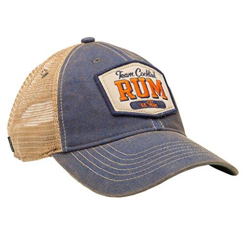 Team Cocktail Rum Is Fun Mesh Trucker Hat - Royal Blue Hat (Navy w/Orange)