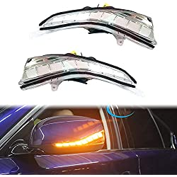 PGONE Dynamic Sequential Blink LED Side Mirror Turn Signal Light Strip Assembly White Light Parking Puddle Light Lamp Kit For Infiniti Q50 Q60 Q70 QX30