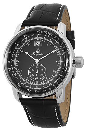 Burgmeister Men's Quartz Metal and Leather Casual Watch, Color:Black (Model: BM333-122)