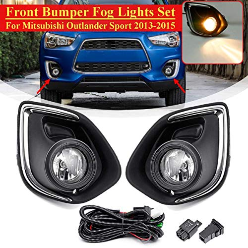 Fog Light Assembly With Bulb + Cover Frame Grill Trim Lamp Halogen For Mitsubishi Outlander Sport 2013 2014 2015 ()