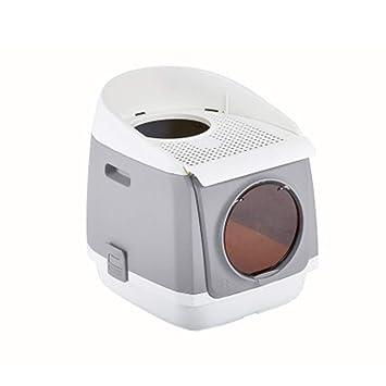 Inodoro Cat Completamente Cerrado De Doble Puerta Caja De Arena Cat Gratis WC Plegable Antideslizante para Gatos 54.9 * 42 * 49.2Cm,Gray: Amazon.es: Hogar
