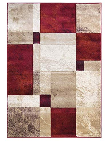 Sapphire Collection, 8 Feet X 10 Feet, Contemporary Abstract Geometric Circles Squares Swirls Bedroom Living Dining Room Area Rug (Red Ivory Tan)