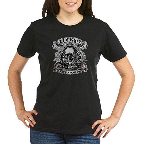 - Royal Lion Organic Women's T-Shirt Drk Lucky 7 Bikes Live To Ride Skull - Black, Large