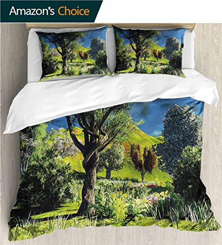 (Full/Queen Size Quilt Bedding Set,Box Stitched,Soft,Breathable,Hypoallergenic,Fade Resistant 3 Piece Bedding Quilt Coverlets - 100% Cotton Bed Quilts Coverlet-Nature Wilderness Rural Scenery)