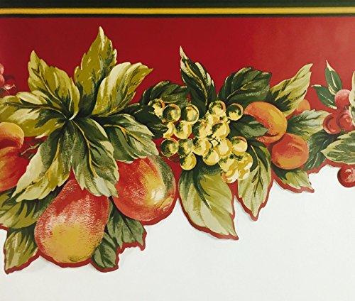 Die Cut Fruit Wallpaper Border - Wallpaper Border Waverly Bramisole Fruit Die Cut Green Gold Tan on Red