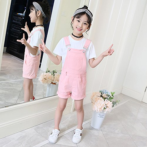 Luodemiss Girl's Short Denim Jumpsuit Various Color Cotton Romper Shortall Pink 12 Years by Luodemiss (Image #4)