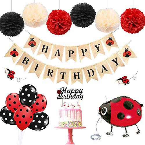 Ladybug Party Supplies (KeaParty Ladybug Birthday Party Decorations Supplies Kit, Happy Birthday Banner, Lady Walking Balloons, Tissue Pom Poms, Cake Topper for Lady Bug Birthday)