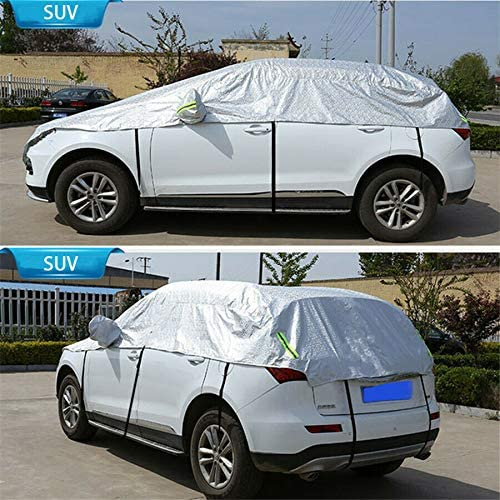 Universal Silver Car Exterior Covers Waterproof SUV Auto Sun Proof Shade Reflective Strip Outdoor Rain Protection Half Cover on Car Accessories PE Film+Cotton Wool Dust-proof Resist Pulling /& Tearing