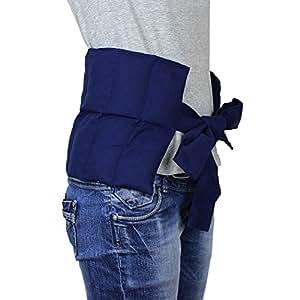 Calentador De Riñones Grande con Correas - Almohada Con Relleno de Trigo, Bolsa Térmica, Cojin de Trigo para Terapia Caliente y Fría - (azul)
