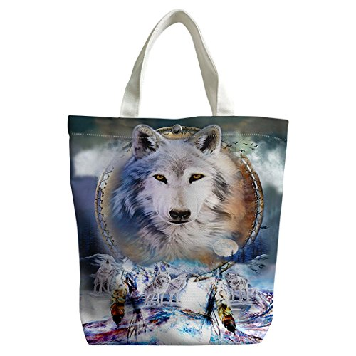 Violetpos Benutzerdefiniert Canvas Handtasche Einkaufstaschen Umhängetasche Schultasche Lunch-Tasche Weißer Wolf Dreamcatcher Schnee FhQnq