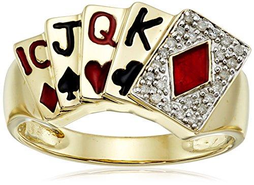 Men's 10k Yellow Gold Diamond Poker Ring (1/10 cttw, I-J ...