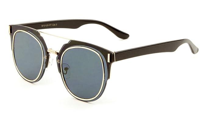 47bf2796cf8 Amazon.com  Flat Lens Cat Eye Top Bar Wayfarer Sunglasses (Black ...
